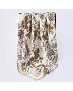 "Corciova 43"" 16 Momme Satin 100% Real Mulberry Silk Square Women Scarfs Scarves Beautiful Flowers and Plants Pattern"