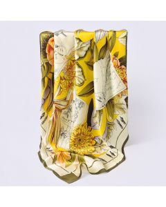 "Corciova 43"" 16 Momme Satin 100% Real Mulberry Silk Square Women Scarfs Scarves Animals and Flower Patterns"
