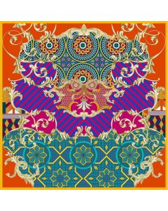 "Corciova 43"" 16 Momme Satin 100% Real Mulberry Silk Square Women Scarfs Scarves Irregular Geometric Pattern"
