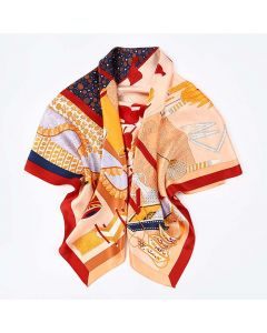 """Corciova 43"""" 16 Momme Satin 100% Real Mulberry Silk Square Women Scarfs Scarves Book and Leaf pattern"""