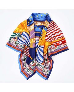 """Corciova 43"""" 16 Momme Satin 100% Real Mulberry Silk Square Women Scarfs Scarves Castle and Palace Design"""