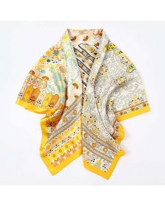 """Corciova 43"""" 16 Momme Satin 100% Real Mulberry Silk Square Women Scarfs Scarves Flowers and Geometric Patterns"""