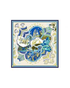 """Corciova 43"""" 16 Momme Satin 100% Real Mulberry Silk Square Women Scarfs Scarves Animals and Boats Pattern"""