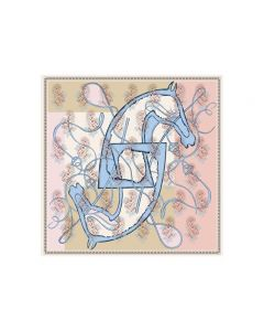 """Corciova 43"""" 16 Momme Satin 100% Real Mulberry Silk Square Women Scarfs Scarves Horse Pattern"""
