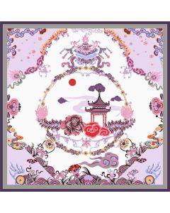 "Corciova 43"" 16 Momme Satin 100% Real Mulberry Silk Square Women Scarfs Scarves Pavilion Design"