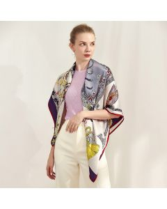 """Corciova 43"""" 16 Momme Satin 100% Real Mulberry Silk Square Women Scarfs Scarves Flowers and Phoenix Pattern"""