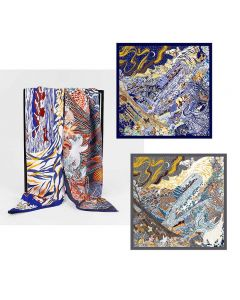 """Corciova 43"""" 18 Momme Twill 100% Real Mulberry Silk Square Women Scarfs Scarves Beautiful Forest Pattern"""