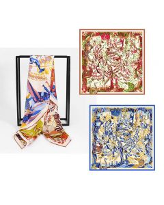 """Corciova 35"""" 16 Momme Twill 100% Real Mulberry Silk Square Women Scarfs Scarves Colorful Tree and Flowers Pattern"""