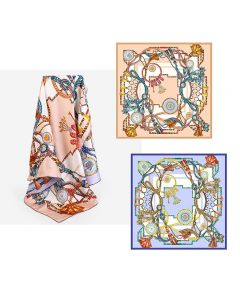 """Corciova 35"""" 16 Momme Twill 100% Real Mulberry Silk Square Women Scarfs Scarves Geometric and Tasser Pattern"""