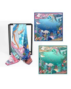 """Corciova 35"""" 16 Momme Twill 100% Real Mulberry Silk Square Women Scarfs Scarves SeaWorld Pattern"""