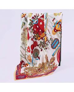 """Corciova 35"""" 14 Momme Twill 100% Real Mulberry Silk Square Women Scarfs Scarves Flowers And Geometric Pattern"""