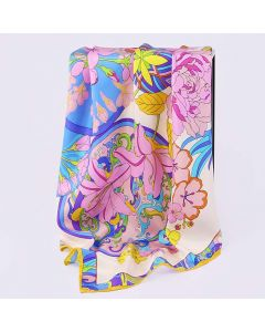 "Corciova 35"" 14 Momme Twill 100% Real Mulberry Silk Square Women Scarfs Scarves Beautiful Flower Pattern"