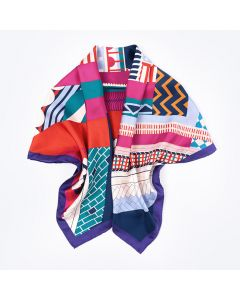 """Corciova 35"""" 14 Momme Twill 100% Real Mulberry Silk Square Women Scarfs Scarves Geometric Color Matching Pattern"""
