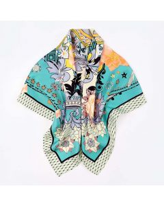 """Corciova 35"""" 14 Momme Twill 100% Real Mulberry Silk Square Women Scarfs Scarves Flowers And Stars Pattern"""