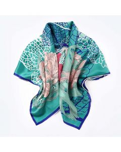 "Corciova 14 Momme 35"" Large Women's 100% Real Silk Square Hair Scarf Wrap Headscarf Flower Pattern"