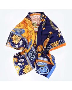 "Corciova 14 Momme 35"" Large Women's 100% Real Silk Square Hair Scarf Wrap Headscarf Chinoiserie Pattern"