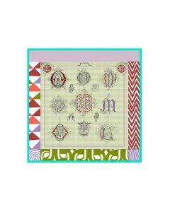 "Corciova 14 Momme 35"" Large Women's 100% Real Silk Square Hair Scarf Wrap Headscarf Geometric Wave Dot Pattern"
