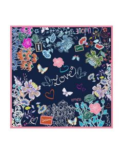 "Corciova 14 Momme 35"" Large Women's 100% Real Silk Square Hair Scarf Wrap Headscarf Butterfly love flower Pattern"