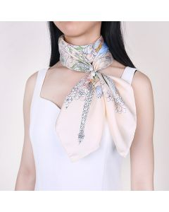 """Corciova 35"""" 14 Momme Twill 100% Real Mulberry Silk Square Women Scarfs Scarves Flower Pattern"""