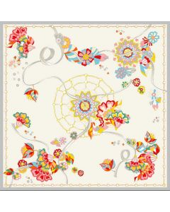 """Corciova 14 Momme 35"""" Large Women's 100% Real Silk Square Hair Scarf Wrap Headscarf Colorful Flower Pattern"""