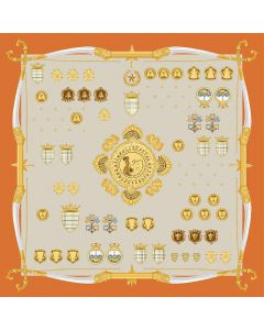 """Corciova 14 Momme 35"""" Large Women's 100% Real Silk Square Hair Scarf Wrap Headscarf Medals Pattern"""