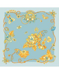 """Corciova 14 Momme 35"""" Large Women's 100% Real Silk Square Hair Scarf Wrap Headscarf Gold Flower Pattern"""