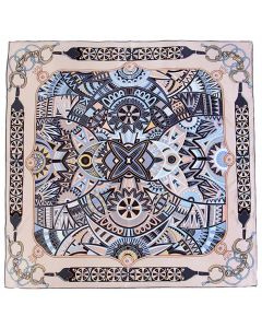 """Corciova 14 Momme 35"""" Large Women's 100% Real Silk Square Hair Scarf Wrap Headscarf Chains and Geometry Pattern"""