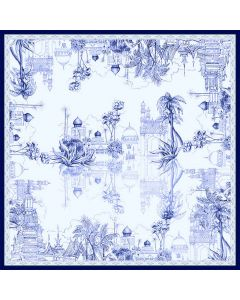 """Corciova 35"""" 14 Momme Twill 100% Real Mulberry Silk Square Women Scarfs Scarves Castle and Coconut Trees Patterns"""