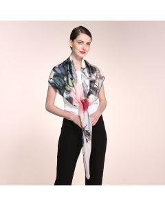 """Corciova 47"""" 9 Momme 100% Real Mulberry Silk Square Women Scarfs Scarves Flower Ink Painting Pattern"""