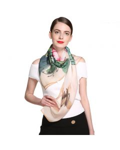 """Corciova 47"""" 9 Momme 100% Real Mulberry Silk Square Women Scarfs Scarves Cockscomb Pattern"""