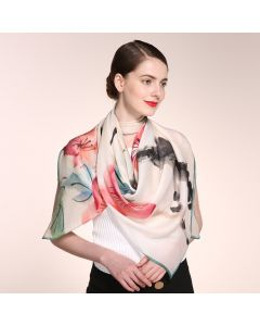 "Corciova 47"" 9 Momme 100% Real Mulberry Silk Square Women Scarfs Scarves Beautiful Flower Pattern"