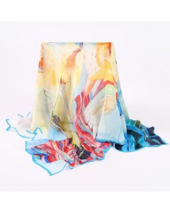 "Corciova 47"" 9 Momme 100% Real Mulberry Silk Square Women Scarfs Scarves Abstract Patterns Of Flowers"
