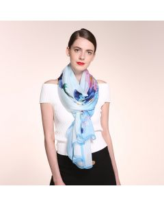 Corciova 6 Momme Chiffon 100% Real Mulberry Silk Long Women Scarfs Scarves Beautiful Flower Pattern