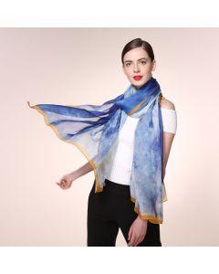 Corciova 6 Momme Chiffon 100% Real Mulberry Silk Long Women Scarfs Scarves Colorful Sky Pattern