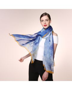 Corciova 6 Momme Chiffon 100% Real Mulberry Silk Long Women Scarfs Scarves Colorful Sky Pattern