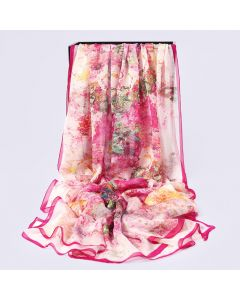 Corciova 6 Momme Chiffon 100% Real Mulberry Silk Long Women Scarfs Scarves Flower Pattern