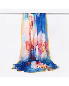 Corciova 6 Momme Chiffon 100% Real Mulberry Silk Long Women Scarfs Scarves Beautiful Peach Blossom Pattern
