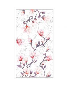 Corciova 6 Momme Chiffon 100% Real Mulberry Silk Long Women Scarfs Scarves Pink Magnolia Pattern