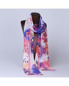 Corciova 8 Momme Georgette 100% Real Mulberry Silk Long Women Scarfs Scarves Flower Pattern