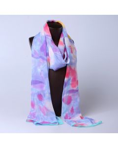 Corciova 8 Momme Georgette 100% Real Mulberry Silk Long Women Scarfs Scarves Color Gradient Flowers Pattern
