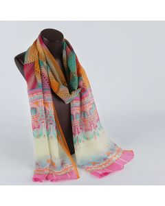 Corciova 8 Momme Georgette 100% Real Mulberry Silk Long Women Scarfs Scarves Palace Pattern