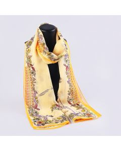 Corciova 8 Momme Georgette 100% Real Mulberry Silk Long Women Scarfs Scarves Flowers and Ears Of Wheat Pattern