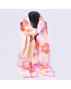 Corciova 8 Momme Georgette 100% Real Mulberry Silk Long Women Scarfs Scarves Pink Flowers Pattern
