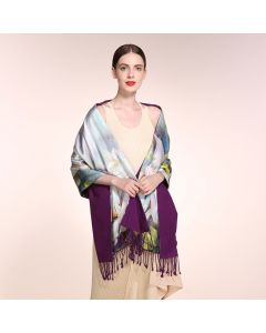 Corciova 16 Momme Double Layer Satin 100% Real Mulberry Silk Long Women Scarfs Scarves White Magnolia Pattern