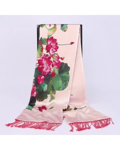 Corciova 16 Momme Double Layer Satin 100% Real Mulberry Silk Long Women Scarfs Scarves Lotus Pattern