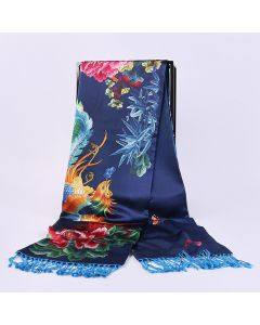 Corciova 16 Momme Double Layer Satin 100% Real Mulberry Silk Long Women Scarfs Scarves Flowers and Phoenix Pattern