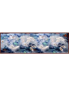 Corciova 16 Momme Double Layer Satin 100% Real Mulberry Silk Long Women Scarfs Scarves White Lotus Pattern