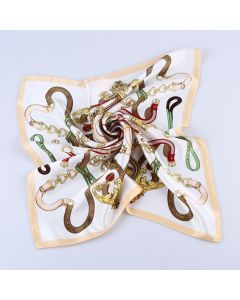 21 Inches 53 CM Womens Real Silk Square Scarf Fashion Chain Pattern