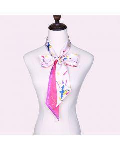 Corciova 12 Momme Twill 100% Real Mulberry Silk thin narrow long ribbon silk Women small Scarfs Scarves Bird Pattern