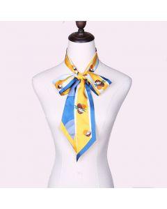 Corciova 12 Momme Twill 100% Real Mulberry Silk thin narrow long ribbon silk Women small Scarfs Scarves Coconut Pattern
